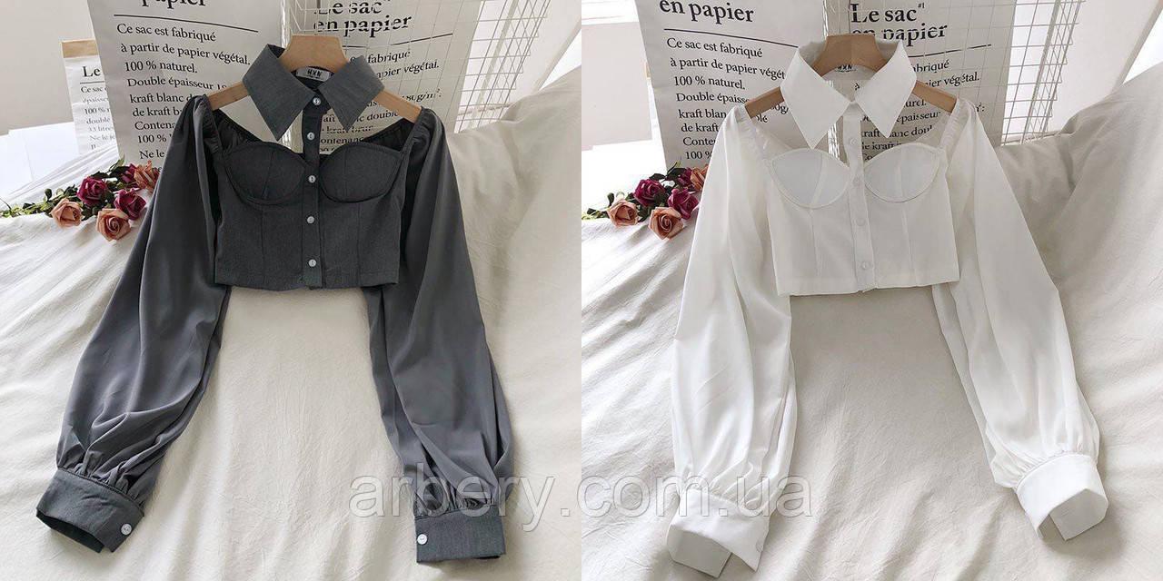 Крутейшая блузка бюстье с чокером и широким рукавом