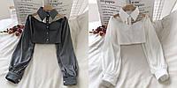 Крутейшая блузка бюстье с чокером и широким рукавом, фото 1
