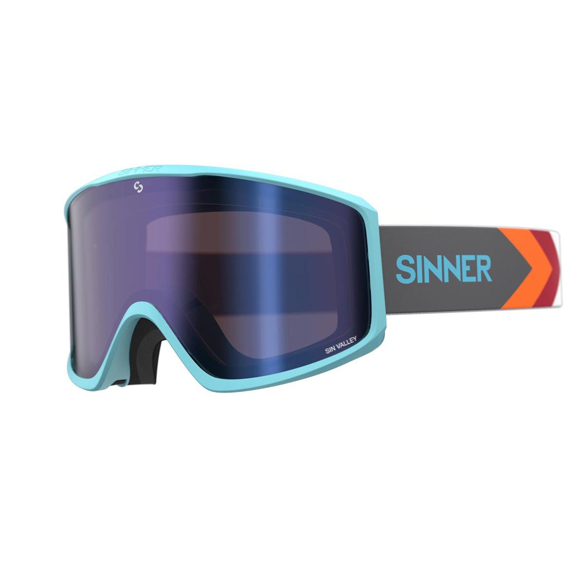 Маска гірськолижна Sinner Sin Valley+ Blue-Blue Mir + Orange Sintec