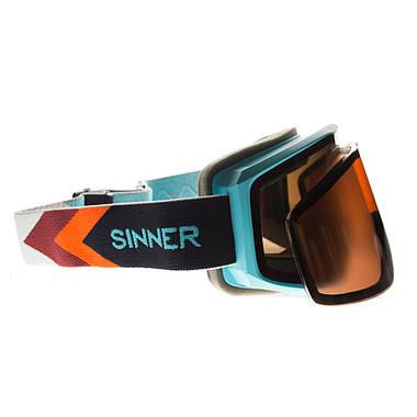 Маска гірськолижна Sinner Sin Valley+ Blue-Blue Mir + Orange Sintec, фото 2