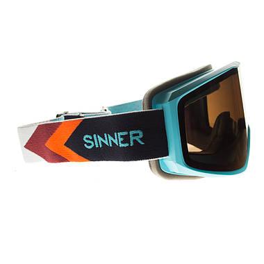 Маска гірськолижна Sinner Sin Valley+ Blue-Blue Mir + Orange Sintec, фото 3