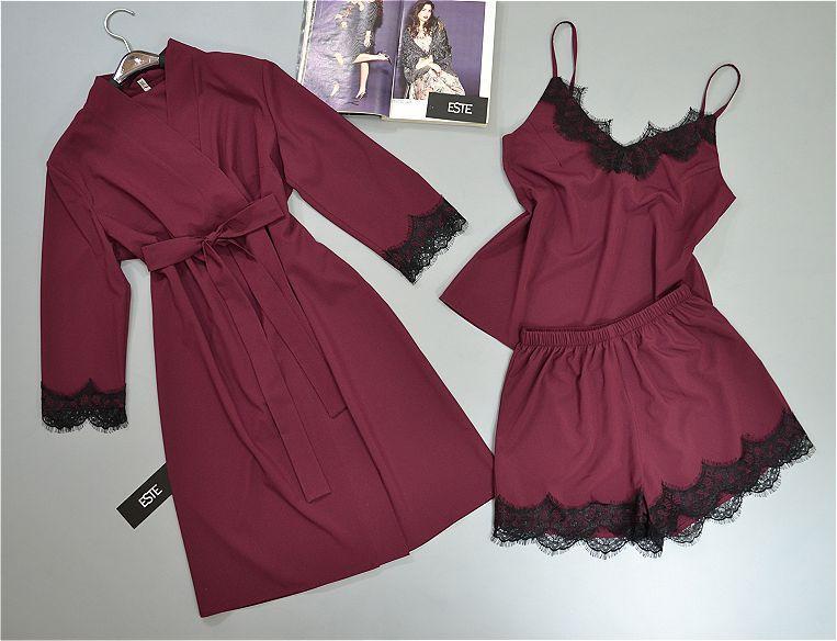 Комплект домашней одежды Este халат майка шорты с кружевом бордовый.