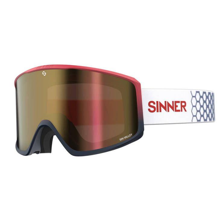 Маска гірськолижна Sinner Sin Valley+ Matte Red Blue-Red Mir + Orange Sintec, фото 2