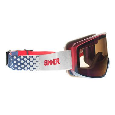 Маска гірськолижна Sinner Sin Valley+ Matte Red Blue-Red Mir + Orange Sintec, фото 3