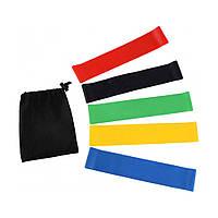 Резинки для фитнеса и спорта латексные набор 5 шт Лента эспандер Фитнес резинка с чехлом