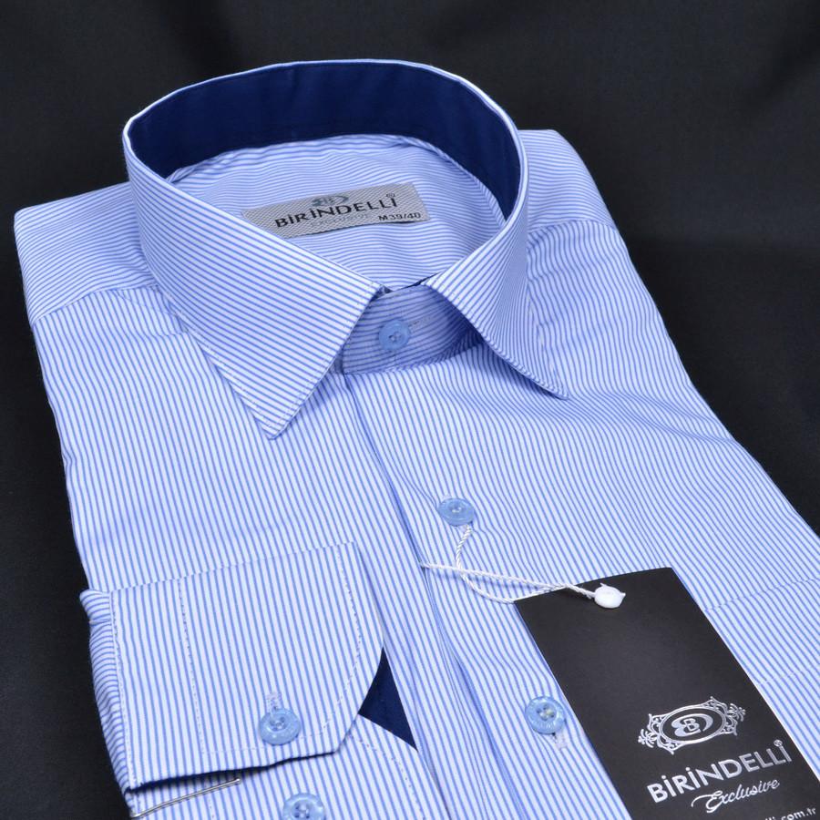 Сорочка чоловіча, прямого крою з довгим рукавом Birindelli 03-257 80% бавовна 20% поліестер L(Р)