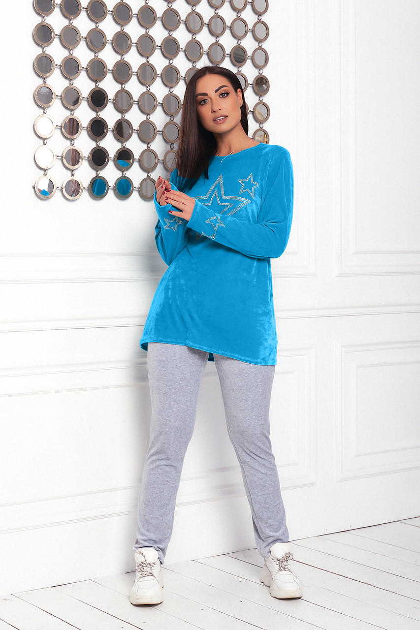 Жіночий велюровий домашній костюмчик, піжамка, розміри 48-56 синій + сірий