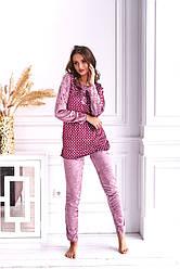 Женская велюровая пижама в горошек размеры  M L