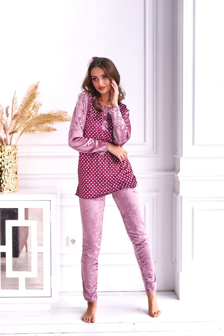Жіноча велюрова піжама в горошок розміри M L