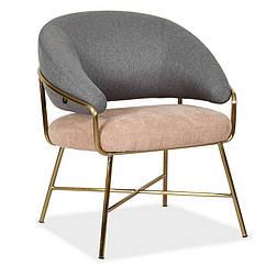 Крісло м'яке Адель не розкладний тканина + вельвет + матова хромована сталь (золото)