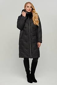 Зимнее фиолетовое стеганое пальто женское с мехом размер 48 до 58