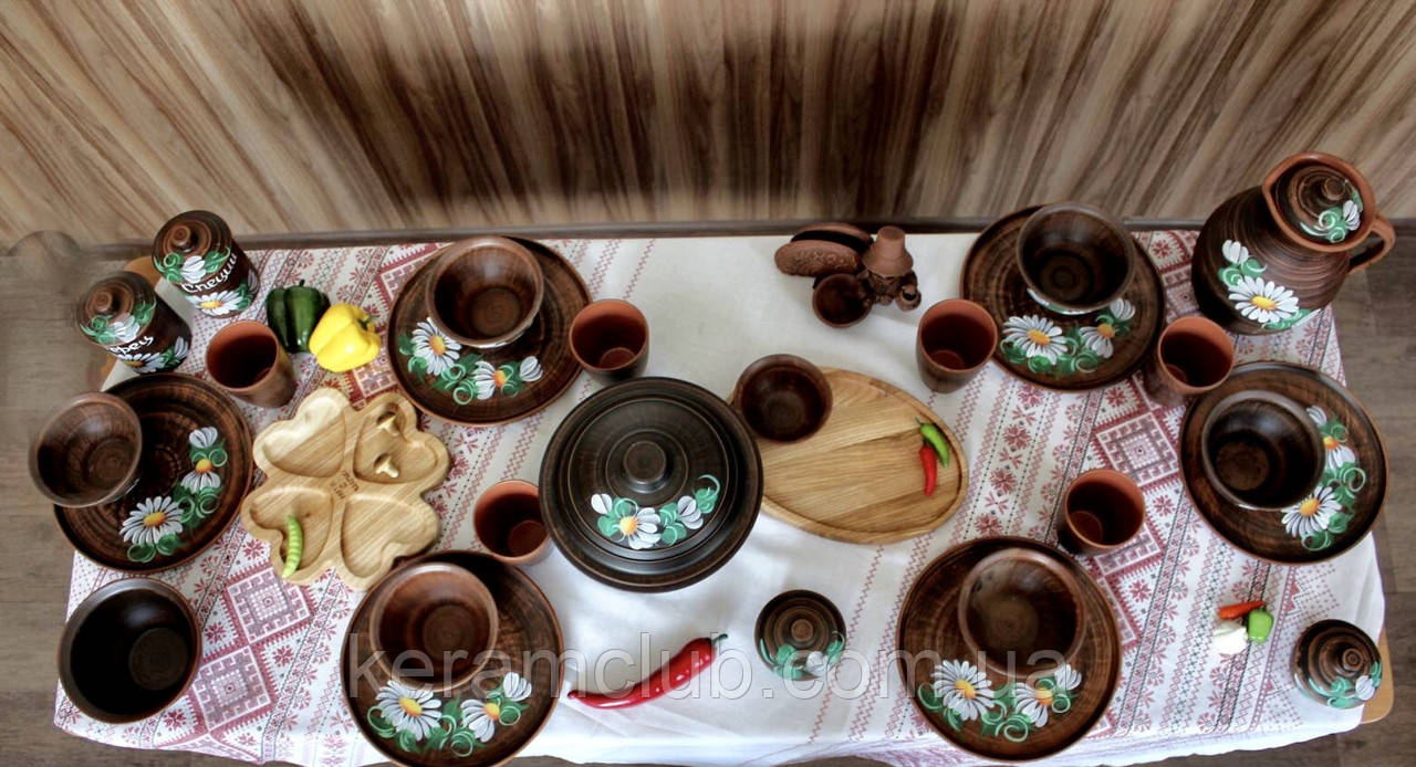 """Набор глиняной посуды на 6 персон Ромашка №9 """"Для первых блюд"""""""