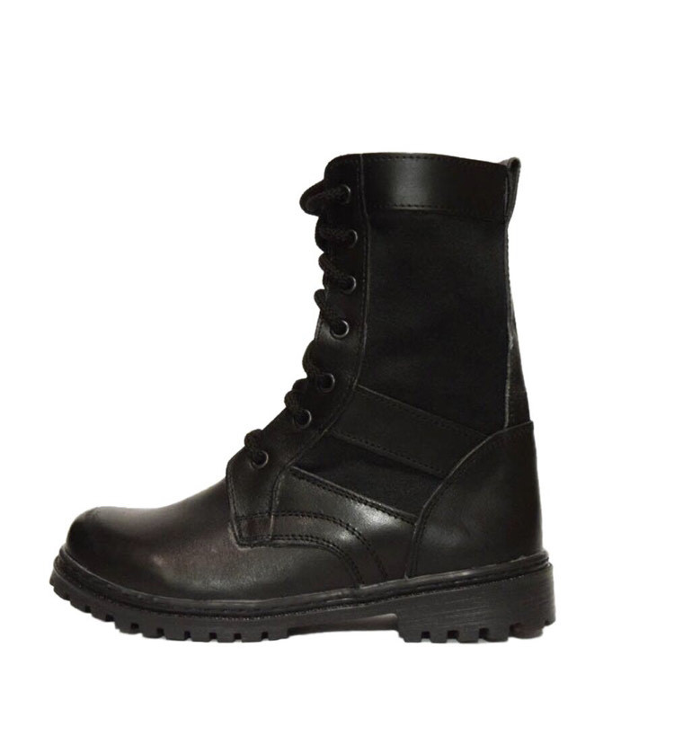 Берцы (ботинки с высокими берцами)  кожа Скорпион бортопрошивные НАТО Лето вставка ткань черные