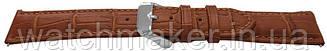 Светло коричневый  кожаный ремешок для наручных часов с фактурой под крокодила,  20 мм (18 мм)
