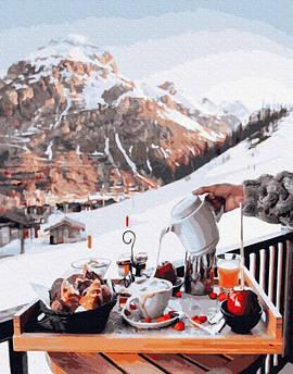 Картина по номерам Завтрак у Швейцарских гор 40 х 50 см (PGX26239) Премиум набор