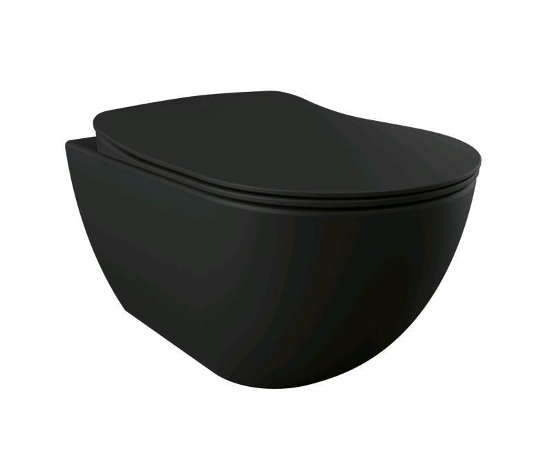 FREE RimOff унитаз подвесной безободковый (черный матовый), крышка с сидением Duroplast, с механизмом