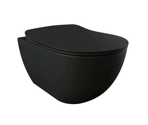 FREE RimOff унитаз подвесной безободковый (черный матовый), крышка с сидением Duroplast, с механизмом, фото 2
