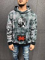 Кофта худи мужская модная с принтами Молодёжная демисезонная кофта с капюшоном мужская с рисунками аниме