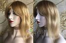 💎Натуральный женский парик золотистый с чёлкой, натуральный волос 💎, фото 2