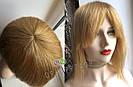 💎Натуральный женский парик золотистый с чёлкой, натуральный волос 💎, фото 4