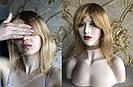 💎Натуральный женский парик золотистый с чёлкой, натуральный волос 💎, фото 5