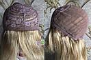 💎Натуральный женский парик золотистый с чёлкой, натуральный волос 💎, фото 6