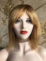 💎Натуральный женский парик золотистый с чёлкой, натуральный волос 💎