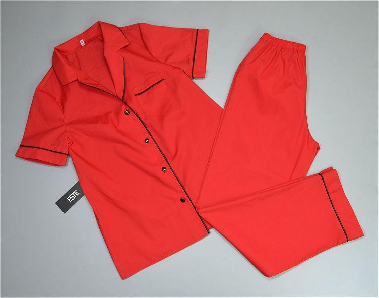Хлопковая пижама женская рубашка и штаны Este красная с кантом .