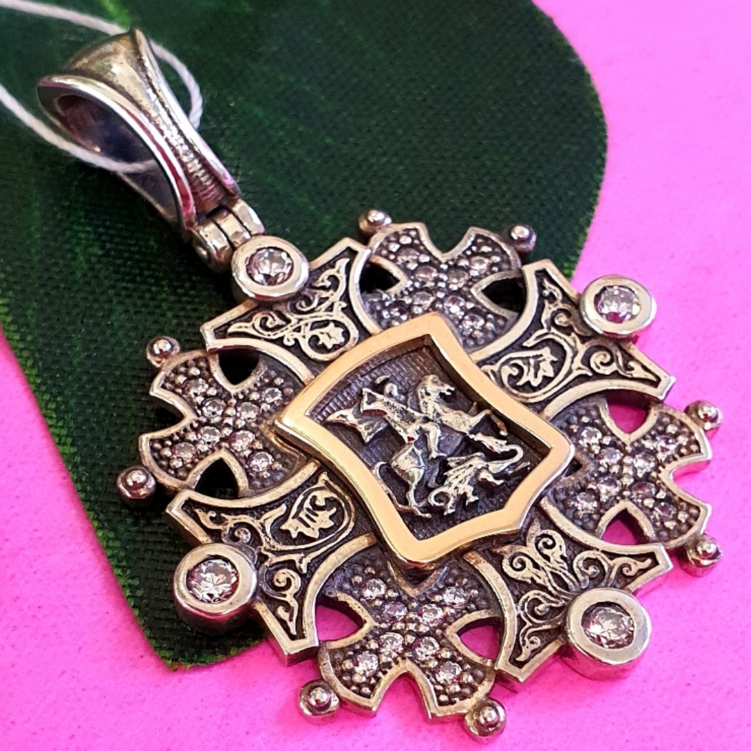 Срібний хрестик Георгій Побідоносець - Чоловічий срібний хрестик з Георгієм Побідоносцем