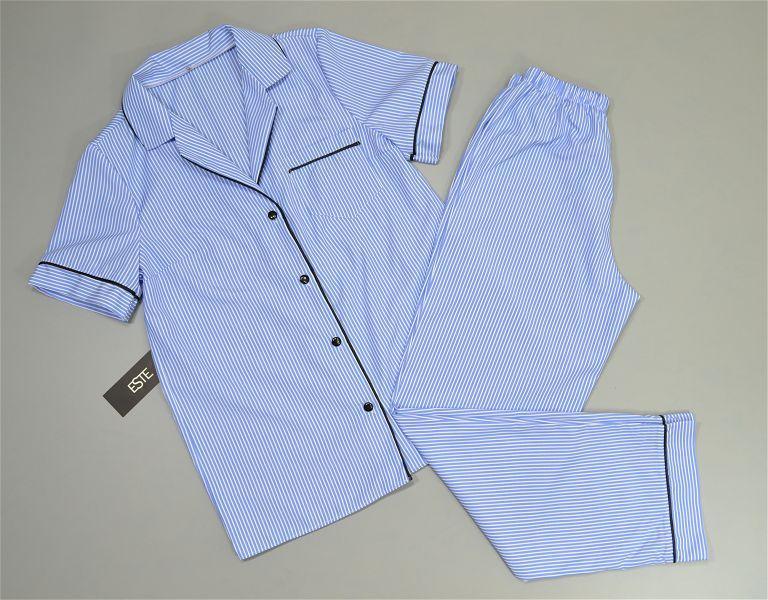 Пижамный комплект рубашка и штаны в полоску Este хлопковый.
