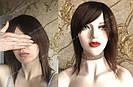 💎Натуральный женский парик коричневый с чёлкой, натуральный волос 💎, фото 3