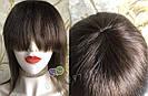 💎Натуральный женский парик коричневый с чёлкой, натуральный волос 💎, фото 4