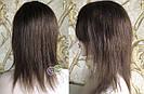 💎Натуральный женский парик коричневый с чёлкой, натуральный волос 💎, фото 2