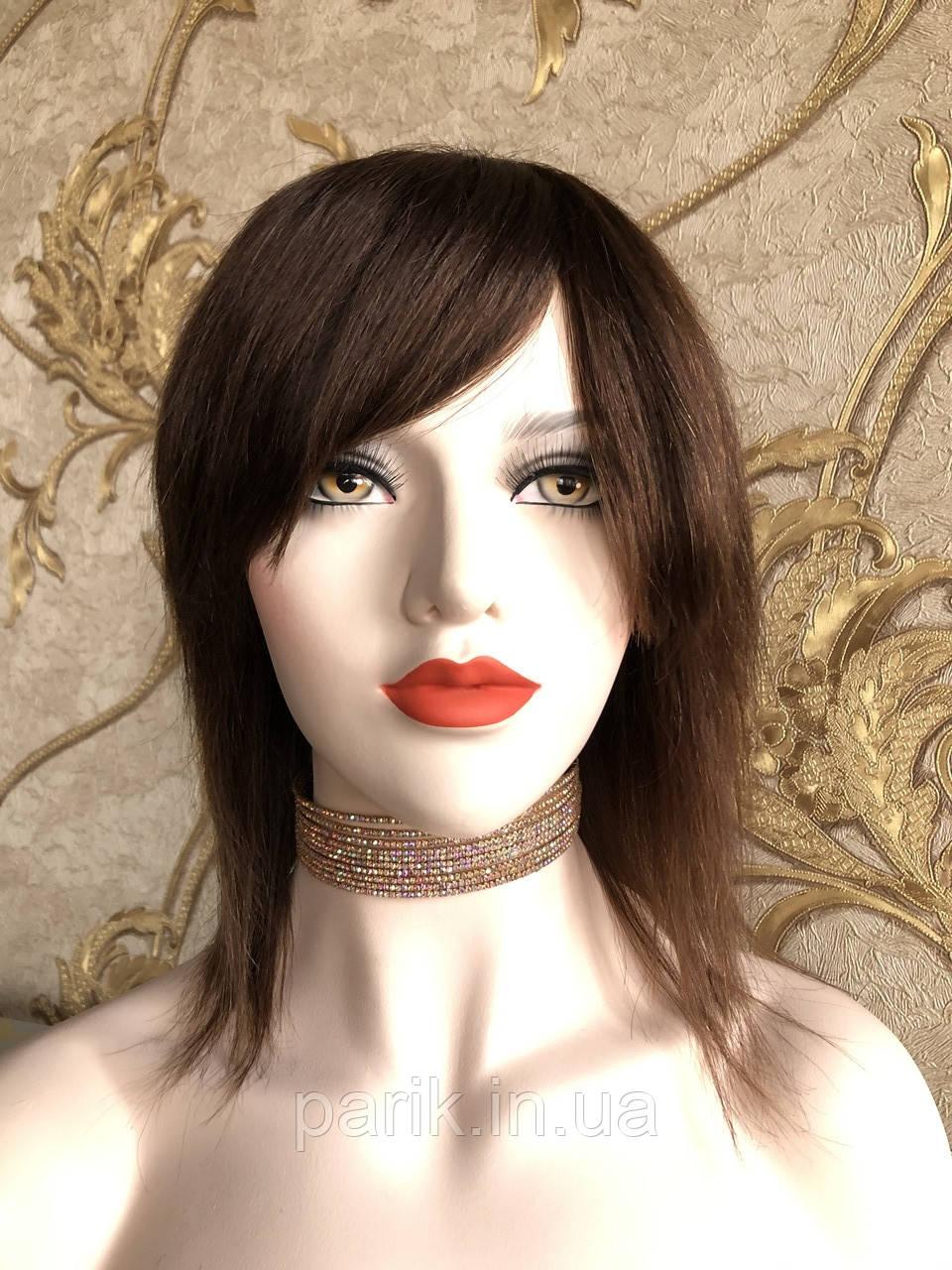 💎Натуральный женский парик коричневый с чёлкой, натуральный волос 💎