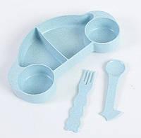 Набор бамбуковой посуды для детей 2 в 1 Машинка голубая, детский набор экологической посуды из бамбука