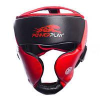 Боксерський шолом тренувальний PowerPlay 3031 Platinum червоно-чорний M, фото 1