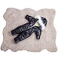 Детский зимний цельный комбинезон на овчине теплый стильный для малышей от 1 до 3 лет черный