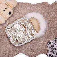 Детский зимний теплый спальный конверт меховой на натуральной овчине в коляску для новорожденного золото