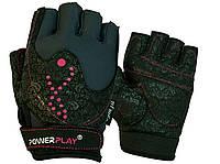 Рукавички для фітнесу PowerPlay 1744 жіночі Чорні XS