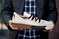 Светлые мужские кроссы Adidas Alexander Wang. Замшевая обувь Адидас Александр Ванг.