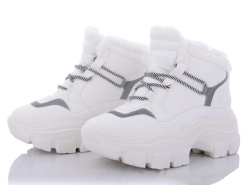 Кроссовки женские зимние белые на меху b-456