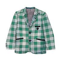 Детский пиджак для мальчика, зеленый, рост 122 см, размер 7 лет.