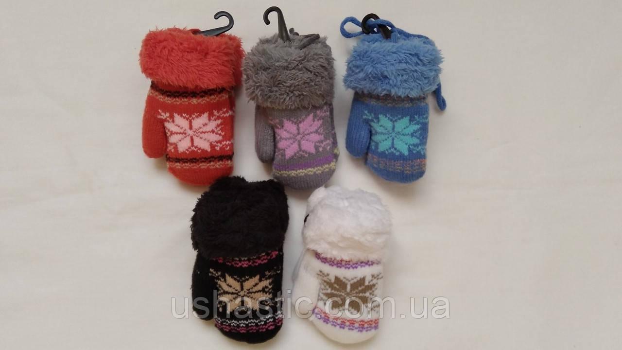 "Варежки на меху для девочки  ""Снежинки"" на 2 года (длина-12см)"