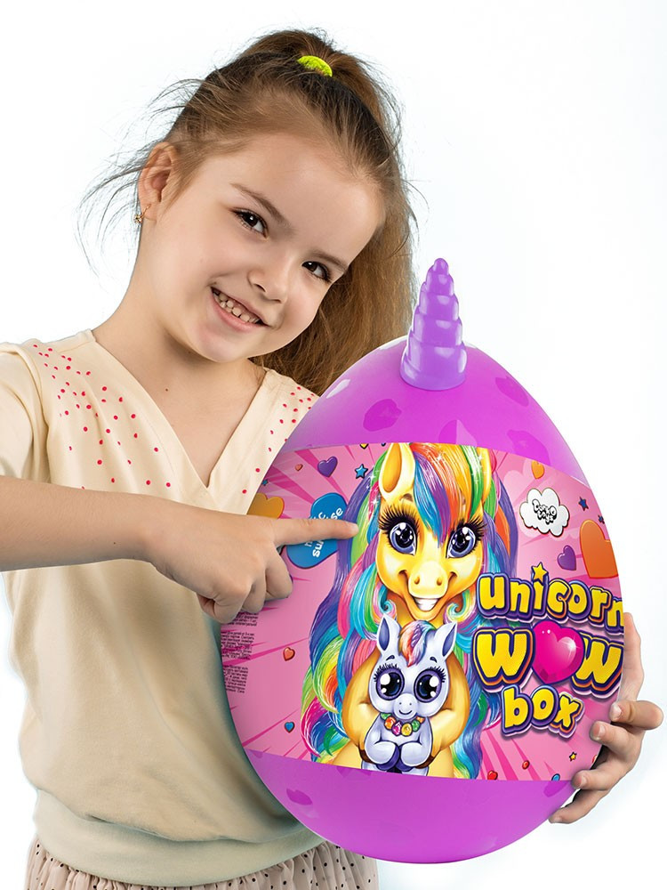 Игра - подарок - набор для творчества - большое яйцо с единорогом 35 см Unicorn WOW Box UWB-01-01