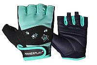 Рукавички для фітнесу PowerPlay 3492 жіночі Чорно-М'ятні M, фото 1