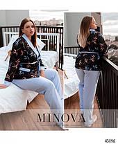 Жіночий домашній комплект-трійка штани, халат і майка Розміри 50-52, 54-56, 58-60, 62-64, 66-68, фото 3