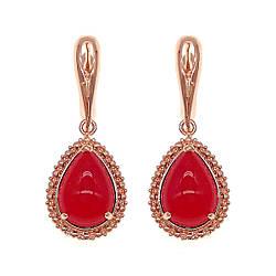 Сережки SONATA з медичного золота, червоні фіаніти, позолота PO, 24707
