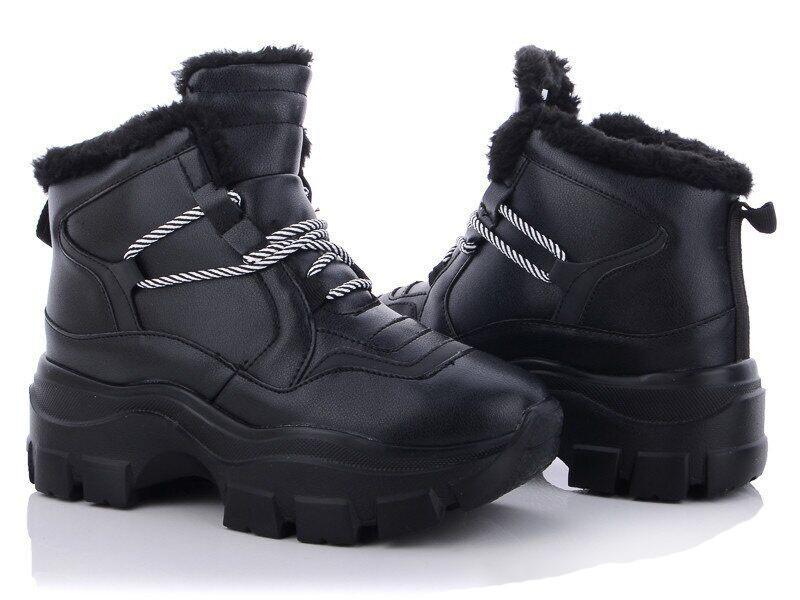 Кроссовки женские зимние черные на меху b-455