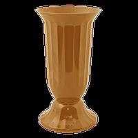 Ваза пластм. Флора 38 см золото