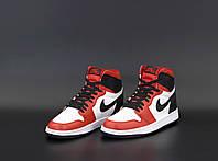 Кроссы для мужчин Nike Air Jordan Retro 1 красные с белым и черным Мужские кроссовки Найк Аир Джордан Ретро 1.